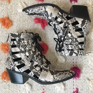 Treasure & Bond Cutout Snakeskin Booties